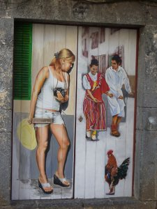 Front door decoration in the Rua Santa Maria, Funchal.